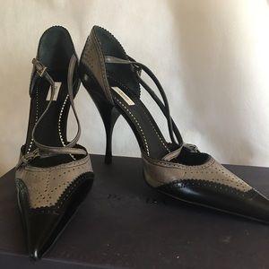 Gorgeous PRADA gray black perl nero shoes 39
